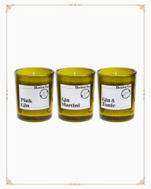 Gin Bottle Candle Set x 3