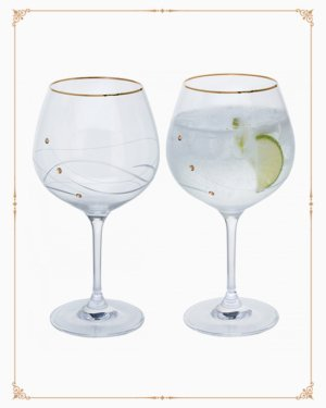 Glitz Gold Gin & Tonic Copa Pair