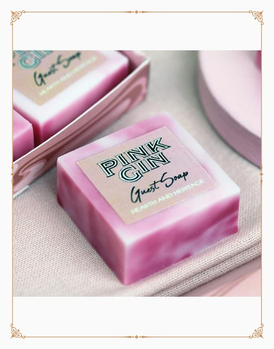 Marbled Pink Gin Scented Guest Soaps in a Gift Box