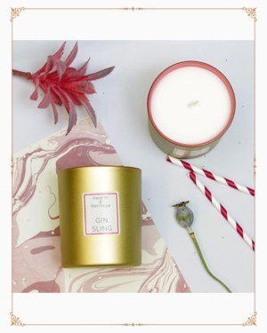 Pink Gin Sling Cocktail Scented Candle in Pink & Gold Holder