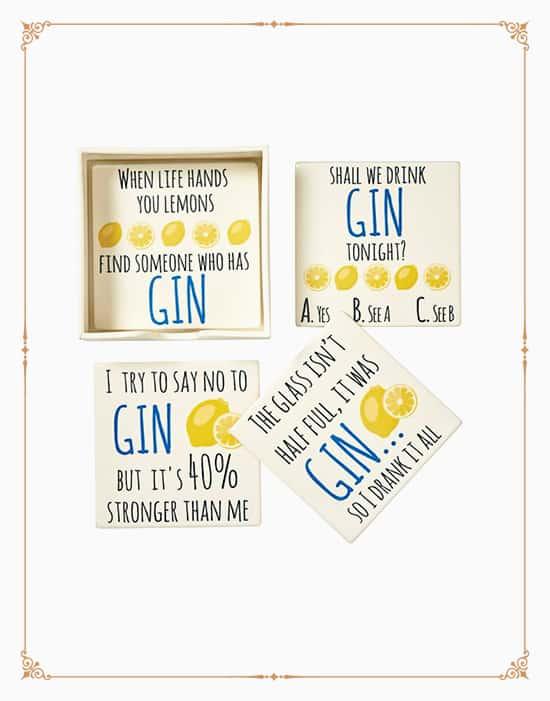 Set of 4 Gin Phrase Coasters