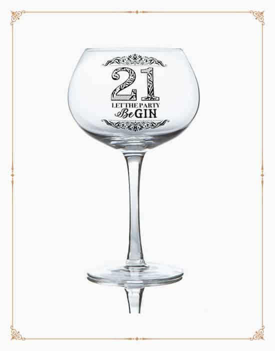 Stemmed Gin Glass For 21st Birthday