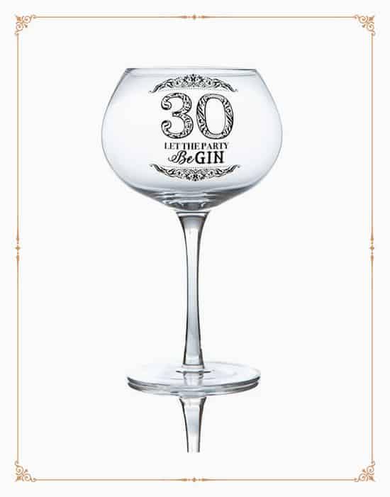 Stemmed Gin Glass For 30th Birthday